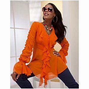 Ashro Lorena Ruffle Top Blouse Orange Size 12